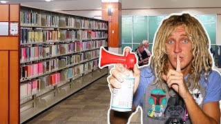 Air Horn Prank IN LIBRARY!! *Cops Called*