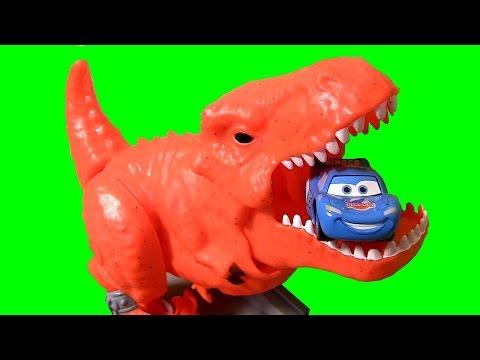 Dino Breakout Playset T-Rex Dinosaur Eats Dinoco Lightning McQueen Disney Pixar Cars