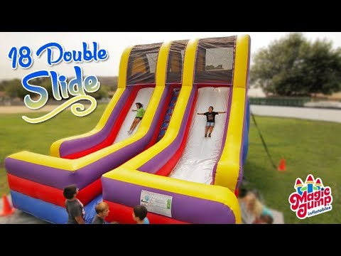 18' Double Lane Slide - Inflatable Dry Slide | Magic Jump, Inc.