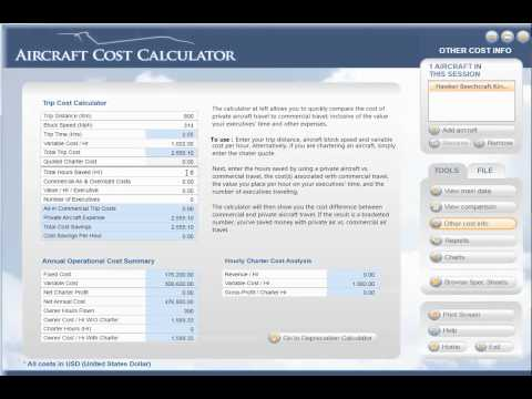 (Business Aviation Software) (King Air B200 Business Operating Costs)