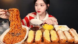 SUB)바삭바삭 달달한 고구마치즈돈까스에 불닭볶음면 먹방! 맵단맵단 꿀조합 리얼사운드 Pork Cutlet & Buldak Noodles Mukbang ASMR