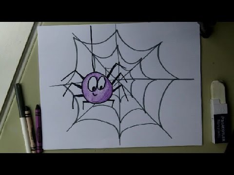 Draw a Cute Spider on a Web. Easy drawing tutorial ... Drawing Ideas For Beginners Kids