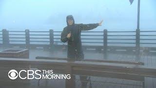 "Hurricane Florence: Rain falling ""sideways, down and up"""