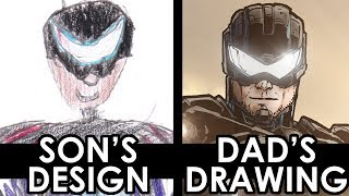 SON'S DESIGN - DAD'S DRAWING 3 - 100000 SUBSCRIBER EDITION!