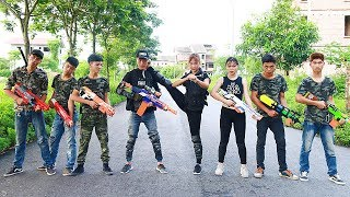 3T Nerf War : Squad Alpha & Crime Team Robbers Nerf guns | Couple Nerf Battle Arena