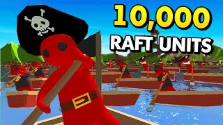 MASSIVE RAFT WARS WITH 10,000 UNITS! (Stupid Raft Battle Simulator Funny Gameplay)