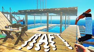 Second Floor Tree Farm! - SHARK ATTACKS and Raft Building - Raft Gameplay