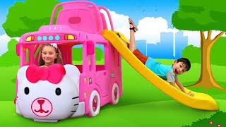 Sasha play with New Hello Kitty Bus and sing a Song