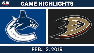 NHL Highlights | Canucks vs. Ducks - Feb 13, 2019
