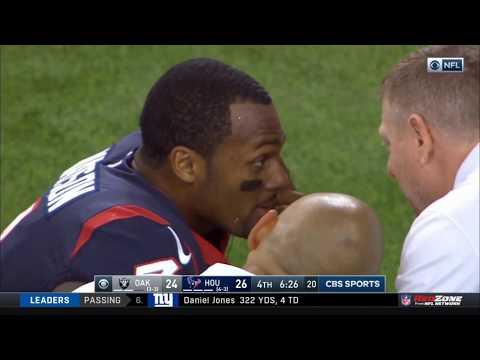 Deshaun Watson Unbelievable Throw After Getting Kicked | Raiders vs. Texans | NFL