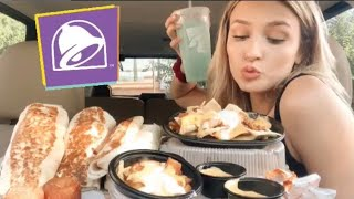 Huge Taco Bell mukbang!! ( new grilled cheese burrito) (last time eating cheesy fiesta potatoes:/ )