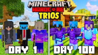 We survived 100 Days In Hardcore Minecraft - TRIO Minecraft Hardcore 100 Days