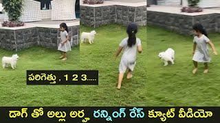 Allu Arjun daughter Arha cute running race with her dog in..