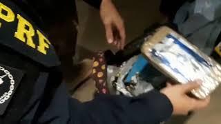 PRF prende passageira de ônibus com pasta base de cocaína na bagagem na BR 290, em Uruguaiana