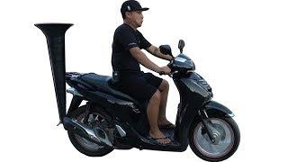 NTN - Thử Gắn Kèn Vào Bô Xe Máy SH (Try attaching a trumpet to the exhaust pipe of motor bike)