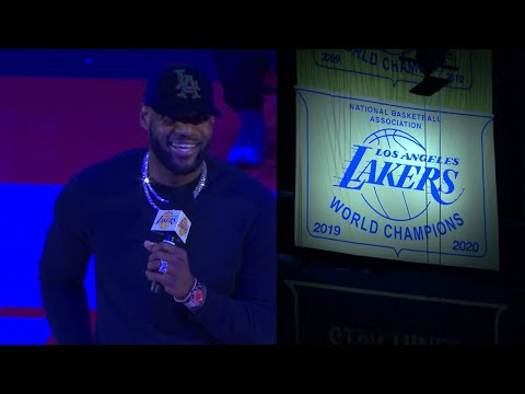 LeBron James talks before banner 17 is raised! The Lakers officially hang the banner