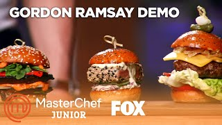 Gordon Demonstrates How To Make Three Different Sliders | Season 7 Ep. 5 | MASTERCHEF JUNIOR