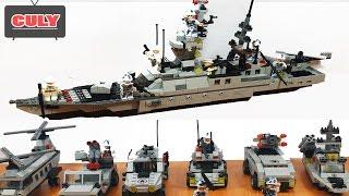 Ráp Lego Tàu Chiến Hạm khổng lồ từ 5 máy bay xe tăng thành đồ chơi trẻ em battleship brick toy kids