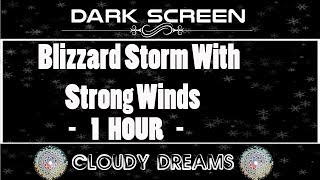 DARK SCREEN:Blizzard Storm Sounds 1 HOUR | Relaxing Winter Background Sounds | Heavy Wind & Snow