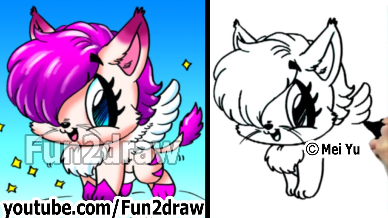 How to Draw a Cat - Fantasy Kitty with Wings - Draw ...