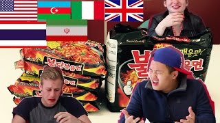 People Around the World try FIRE NOODLE CHALLENGE!!