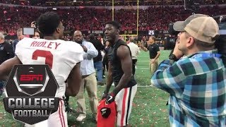 Brothers Calvin and Riley Ridley meet after Alabama beats Georgia in national title game | ESPN