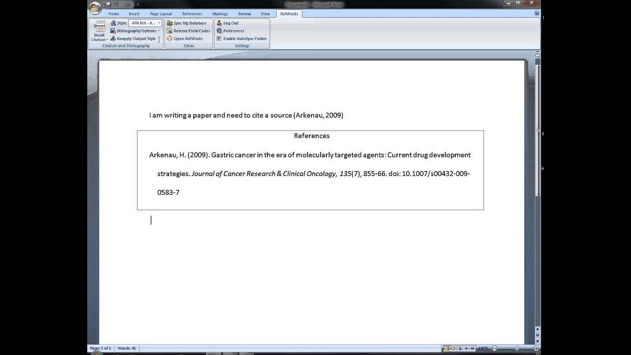 Refworks write and cite machin