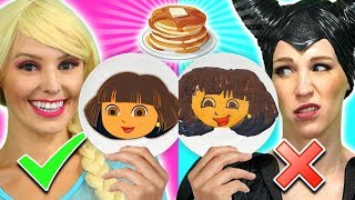 ELSA VS MALEFICENT PANCAKE ART CHALLENGE. We Make Dora, Genie, Pikachu and Toy Story.