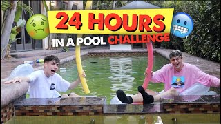 LIVING IN MY POOL FOR 24 HOURS CHALLENGE!