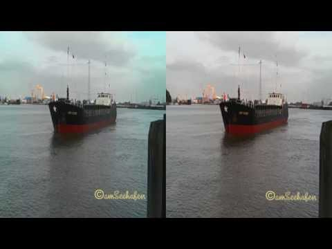 3d stereoscopic seaship RIVER TRADER inbound sealock Emden Seeschiff Seeschleuse