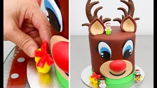 Christmas Cake | Reindeer Cake with Chocolate Buttecream Frosting by Cakes StepbyStep