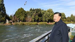President Xi pays visit to Dianchi Lake in Kunming, southwest China