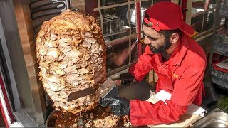 Huge Shawarma Cutting Skill. Street Food from Minsk, Belarus