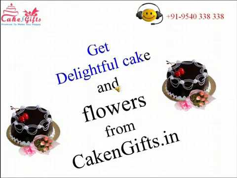 Order Delightful cake and flowers from CakenGifts.in
