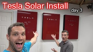 3 Founders Powerwalls, 51 Solar Panels, 3 Signature Wall Connectors! Install Day 3!