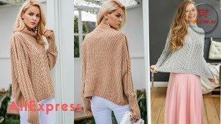 Clothing from AliExpress. Casual warm autumn winter women jumper Cold shoulder knitting pullover.