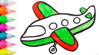 Airplane Coloring and Drawing | Learn Colors with Watercolors Paints for Kids|How to Draw for Babies