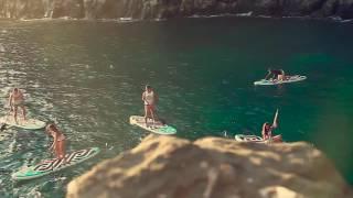 Surfing con sup en bajamar, tenerife