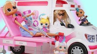 Barbie Ambulance Toy Emergency Play Video at1 LOL Doll Hospital