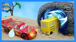 Disney Lightning McQueen car goes on time travel. Find the Miss Fritter school bus.