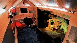Snowmobile Camper Solo Overnight- Primitive Heating & Wolf Lullaby / Log Cabin Update- Ep 11.6