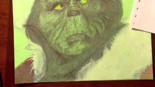 The Grinch Drawing with Ballpoint Pen