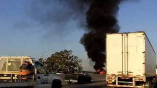 Car fire on the 91 Freeway