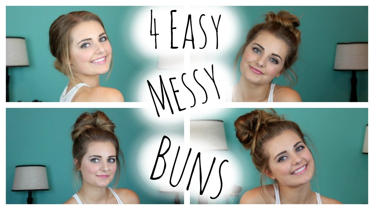 No Heat Hair Styles: NO HEAT HAIRSTYLES: 4 Easy Messy Buns!