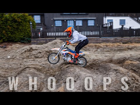 THOSE WHOOPS ARE CRAZY First Ride - New Pitbike Backyard Track -