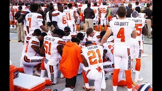 TWELVE Cleveland Browns Take A Knee During National Anthem