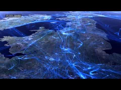 24 Hours European Flight Air Traffic Visualization