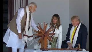 US President Donald Trump spinning yarn at Sabarmati ashra..