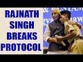Rajnath Singh breaks protocol, hugs BSF Jawan