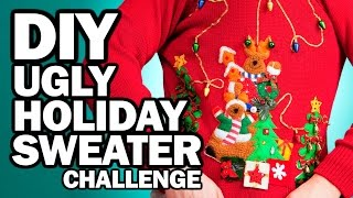 DIY Ugly Holiday Sweater Challenge - Man Vs Corinne Vs Pin